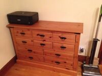 Pine Drawers / Sideboard with black fixtures