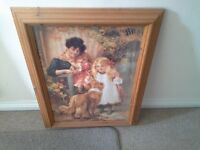 """Solid pine picture frame + picture, approx 30 """" × 20 """". Mother and Child pictures"""