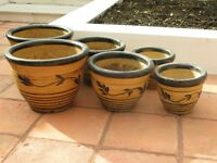 Set of three yellow/brown garden pots (2 sets available)