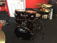 Voggenreiter Volt Acoustic Black Drum Kit with Cymbals, stands, stool and sticks
