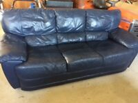 Navy leather 3 & 2 seater sofas