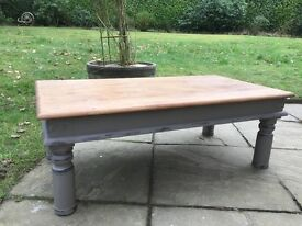 Hand Painted Solid Oak Coffee Table In French Linen