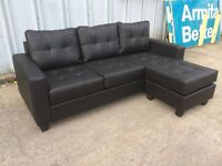 Black Leather 3 Seater Sofa with Footstool - Ex Display - £249 Including Free Local Delivery