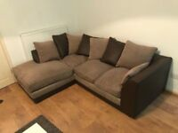BROWN FABRIC CORNER SOFA - MUST GO ASAP - CHEAP DELIVERY - £250
