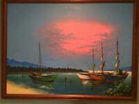 Original Wooden Framed Painting of Caribbean scene