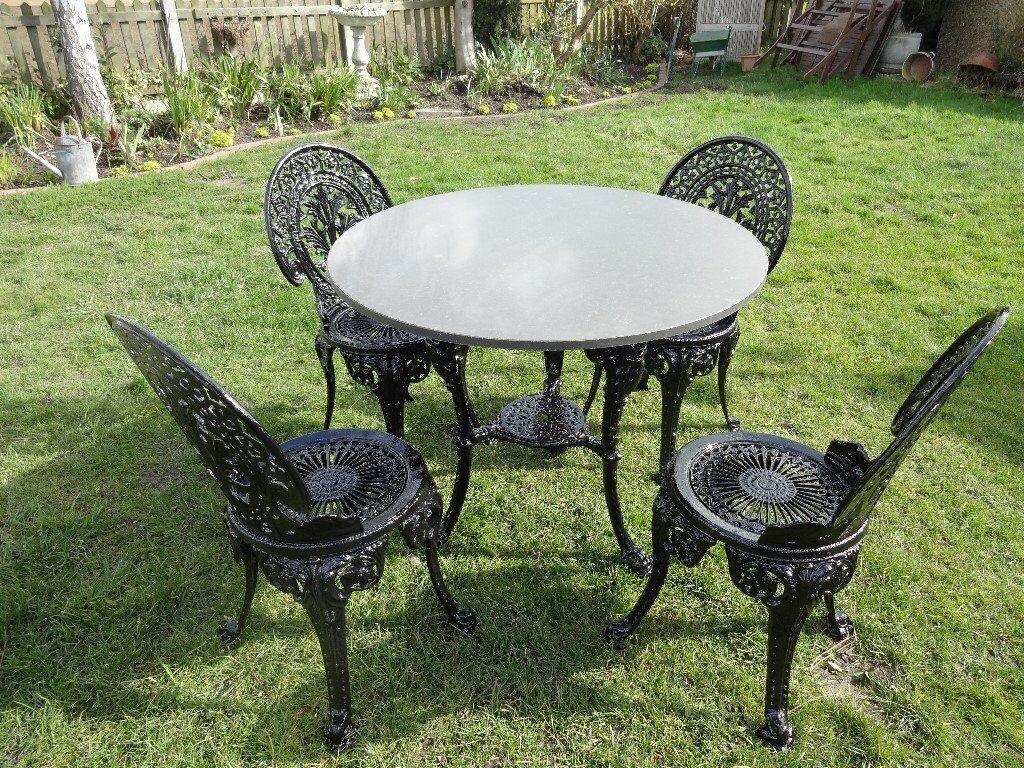 Garden Patio Set Cast Iron Britannia Table With Granite Top 4 Aluminium Chairs