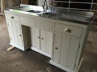 Vintage double metal kitchen sink and drainer including painted pine base unit