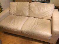 Cream Leather 2-seater sofa