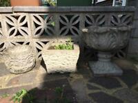 Vintage stone flower pots