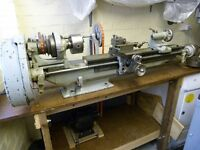 """Myford 'M' type 3 1/2"""" lathe with 3 jaw and 4 jaw chucks and face plate"""