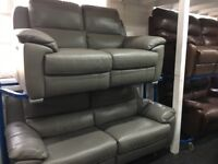 New/Ex Display Grey LazyBoy Aspsly Reid Leather 3 + 2 Seater Electric Recliner Sofas