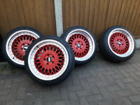 "RED Alloys Bbs RS RX RK LM inspired 18"" Nearly new & tyres Alloy wheels fits Audi a4 a5 vw scirocco"
