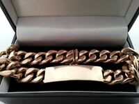 Beautiful, Mens 9ct Yellow Gold Curb I.D Bracelet.