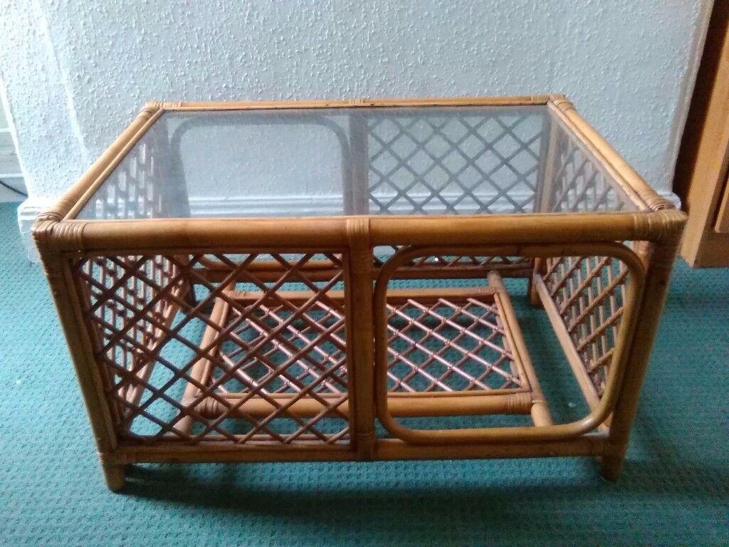 COFFEE TABLE RATTAN CANE GLASS