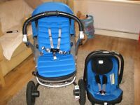 Britax Affinity Blue Full Travel System (Pushchair With Car Seat And Base)