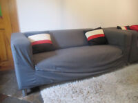 Klippan Sofa 2 seat sofa from Ikea with mid grey covers - built and ready for collection