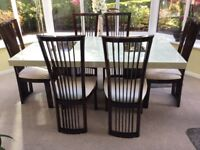 Marble dining table and six chairs
