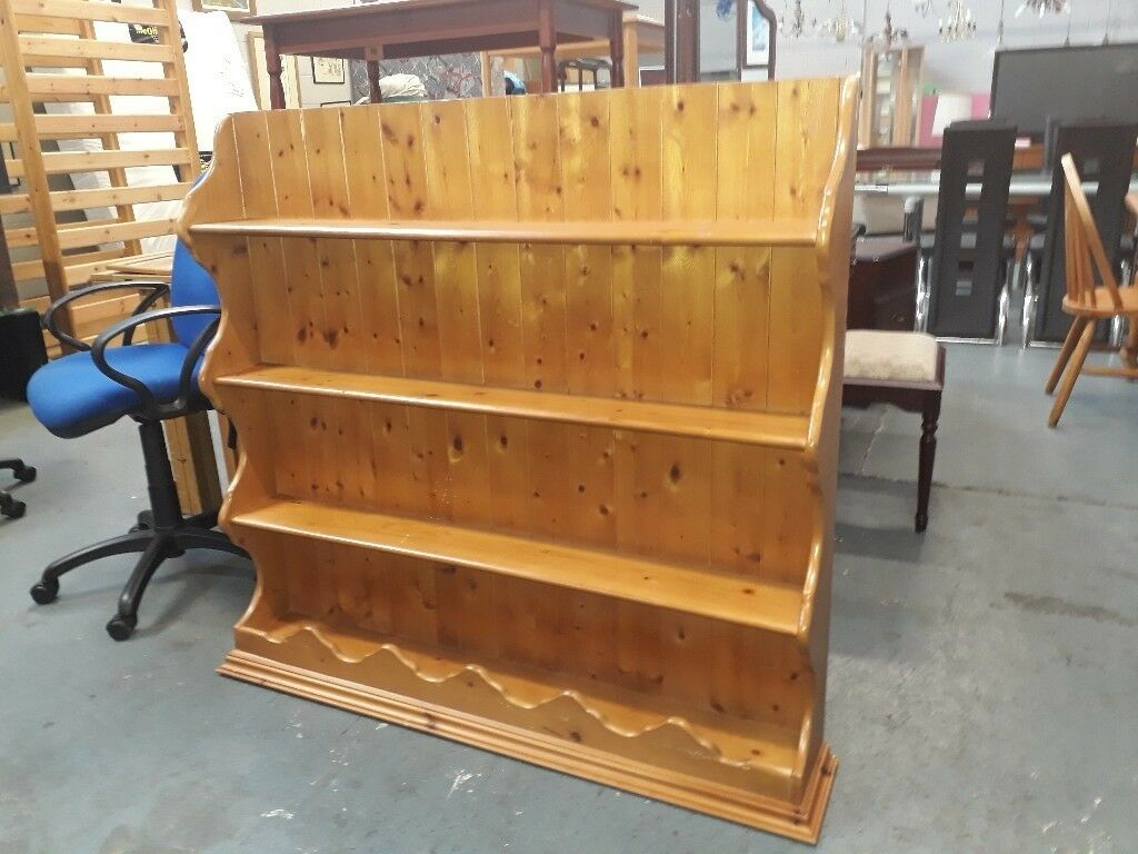 Very Solid Pine wall display unit.116 cm tall, 122cm wide and 22 cm deep.