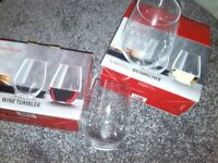 NEW and Boxed Crystal wine tumblers .