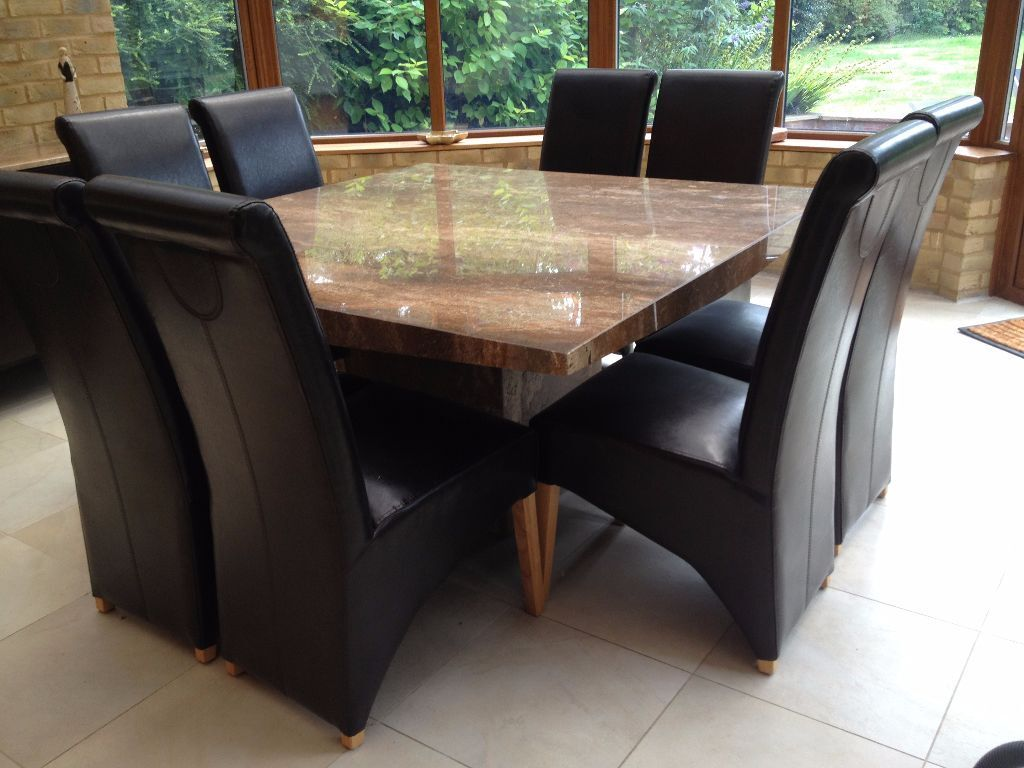 Marble Dining Room Table with 8 Leather chairs and  : 86 from www.gumtree.com size 1024 x 768 jpeg 97kB