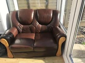 2 x 2 seater brown leather sofa
