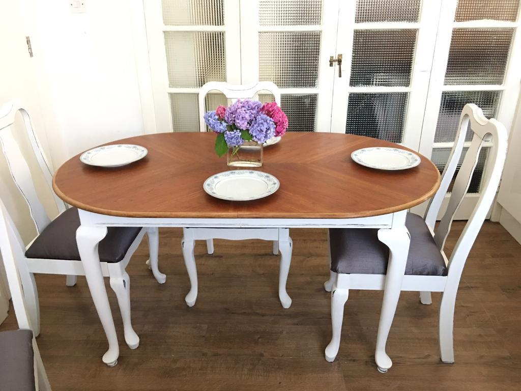 SOLID WOOD Vintage TABLE +4 CHAIRS SHABBY CHIC FREE DELIVERY LDN🇬🇧