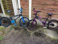 Blue and purple muddy fox BMX