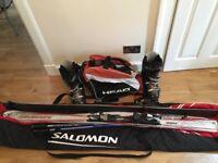Skis, Bindings, Poles, Boots, Double ski bag & boot bag
