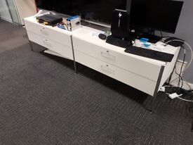 White Metal Sideboard Unit With 4 Drawers - £120