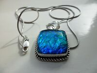 Sterling silver 925 Blue/Green Dichroic Glass Pendant & Chain