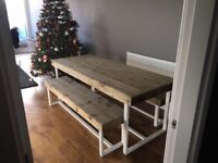 Reclaimed wood/metal dining table and x2 benches