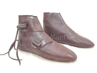 Medieval Shoe Renaissance Re Enactment Costume Brown Leather Party Soft Shoes