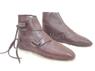 Medieval Shoe Renaissance Re Enactment Costume Brown Leather Party Soft Shoes