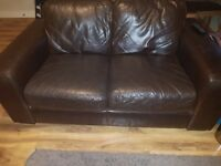 Brown leather 2 seater sofa and armchair **free**