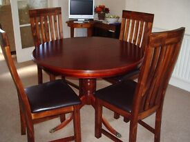 "Dining Table by ""Morris of Glasgow"" with four Dining Chairs."