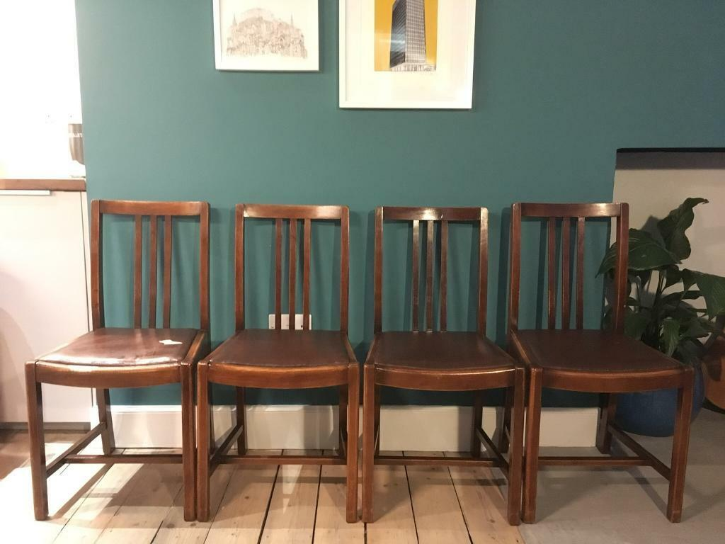 Set Of Four Vintage Oak 1960s Dining Chairs For Sale