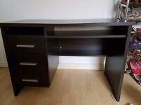 Dark wood desk and drawers