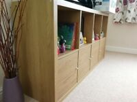 IKEA/Shelving unit/KALLAX/Oak effect which was £55, with four doors now sale for just £30