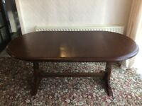 medium dark solid oak dining table with four chairs - excellent condition