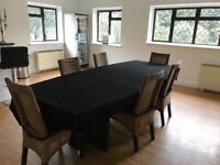 Large boardroom table 9ft x 4ft, narrowing to 3ft each end