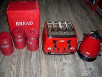 de longhi kettle toaster tyhoon caddys red bread bin
