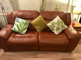 Dfs brown 7ft electric recliner sofa