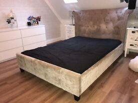 Boutique fabric extreme headboard double bed frame