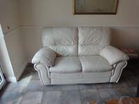 Ivory Leather Sofa