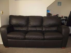 3 SEATER CHOCOLATE BROWN FAUX LEATHER SOFA (matching 2 seater available also)