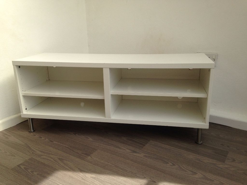 IKEA Besta TV bench white with chrome legs 120cm x