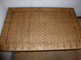 Small Coffee Table Willow Rattan Cane Decorative Woven Side Table or Bedside Table