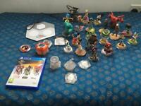 22 x DISNEY INFINITY FIGURES PLUS PS4 GAME AND BASE