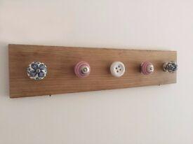 Solid Oak Coatrack / Jewellery Hanger Five Ceramic Hooks