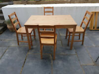 Ikea dining table and 4 chairs. Good condition. Collection.